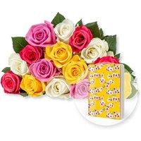 15 bunte Fairtrade-Rosen und Heft Blüten gelb