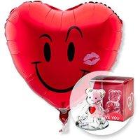 Ballon Kuss-Smiley und Glasbär mit Herz