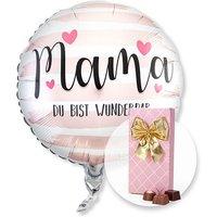 Ballon Mama Du bist wunderbar und Belgische Pralinen-Auslese