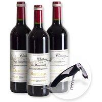 Mein eigener Bordeaux (3x0,75l) und Kellnermesser