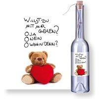 Flaschenpost Teddybär und Glasbär mit Herz