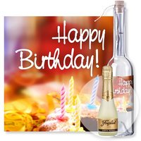 Flaschenpost Happy Birthday und Freixenet Semi Seco