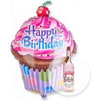 Riesenballon Happy Birthday Cupcake und Pinke Glasflasche Happy Birthday mit LED