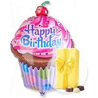 Riesenballon Happy Birthday Cupcake und Belgische Pralinen