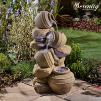 Serenity Cascading Tipping Pots Stone Wall Water Feature