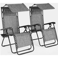 Set of 2 Zero Gravity Canopy Chairs