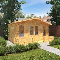 The Silver 5m x 3m Log Cabin with Veranda