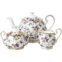 100 Years of 1940 English Chintz Teapot, Sugar and Cream Set