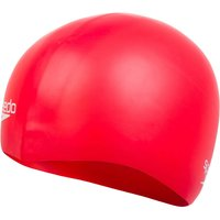 Image of Speedo Plain Moulded Silicone Swimming Cap - One Size Red 3