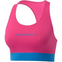 Runderwear Womens Performance Crop Top - Medium Pink/Cyan Trim