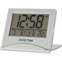Acctim Mini Flip LCD Travel Alarm Clock Silver
