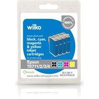 Wilko Remanufactured Epson T0711/2/3/4 Black, CyanMagenta and Yellow Inkjet Cartridge Multipack