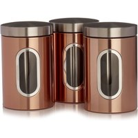 Wilko Copper Effect Tea and Coffee Canisters