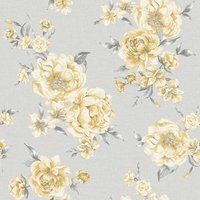 Holden Decor Peony Floral Yellow/Grey Wallpaper Paper