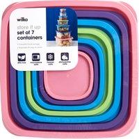 Wilko Rainbow Storage Container 7 Piece Set