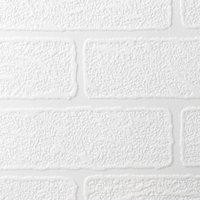 Superfresco Brick Textured Vinyl White Wallpaper 93744