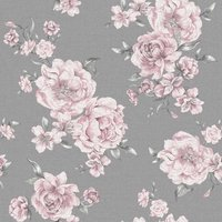 Holden Decor Peony Floral Pink/Dark Grey Wallpaper Paper