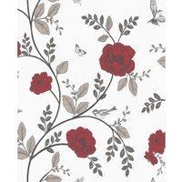 Wilko Rosanna Floral Red Wallpaper