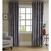 Wilko Silver Crushed Velvet Effect Lined Eyelet Curtains 167 W x 183cm D