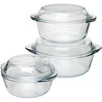 Wilko Glass Casserole Set 3pcs