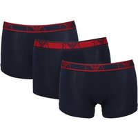 Emporio Armani 3 Pack Navy & Red Stretch Cotton Trunks