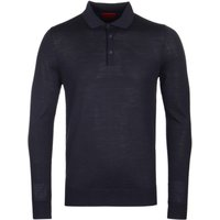 HUGO San Giovanni Navy Long Sleeve Knitted Polo Shirt