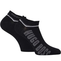 BOSS 2 Pack Black Contrast Stripe Logo Trainer Socks