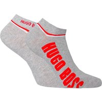 BOSS 2 Pack Grey Contrast Stripe Logo Trainer Socks