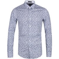 BOSS Ronni 53 Contrast Floral Slim Fit White & Blue Shirt