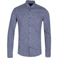 BOSS Ronni Blue Floral Print Slim Fit Long Sleeve Shirt