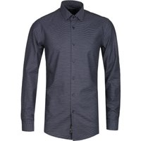 BOSS Isko Woven Polka Dot Slim Fit Black Shirt
