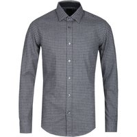 BOSS Ronni Doubleface Slim FIt Grey Check Flannel Shirt