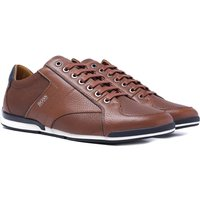 BOSS Saturn Low Grain Leather Brown Trainers