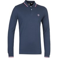 Pretty Green Regular Fit Long Sleeve Tipped Navy Polo Shirt