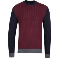 Edwin Contrast Panel Burgundy Ribbed Knit Sweater