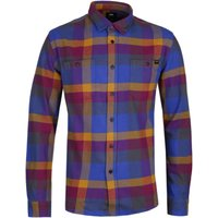 Edwin Long Sleeve Purple & Harvest Gold Checked Labour Shirt