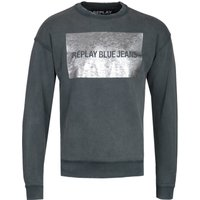 Replay Distressed Reflective Panel Khaki Sweatshirt