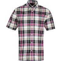 Fred Perry Black Madras Pink Tartan Short Sleeve Shirt