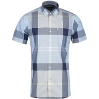 Barbour Croft Short Sleeve Tailored Fit Ocean Blue Check Shirt