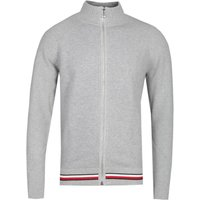 Tommy Hilfiger Zip Through Grey Funnel Neck Cardigan