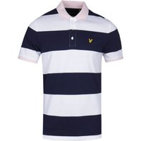 Lyle & Scott Wide Stripe Navy & White Polo Shirt