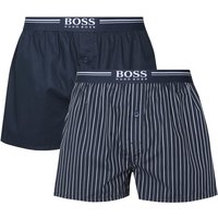 BOSS Bodywear 2 Pack Blue Check & Navy Boxers