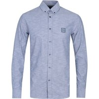 BOSS Mabsoot Cotton Long Sleeve Blue Shirt