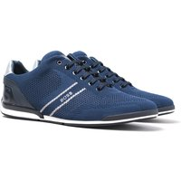 Boss Saturn Low Knit Heel Logo Navy Trainers