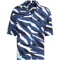 BOSS Lello Camp Print Short Sleeve Navy Cuban Shirt