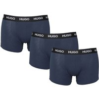 Hugo 3 Pack Logo Navy Boxers