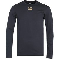 Boss Togn Central Logo Long Sleeve Navy T-Shirt