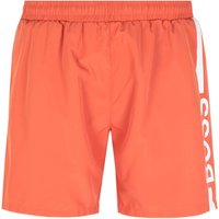 Boss Dolphin Stripe Logo Burnt Orange Swim Shorts