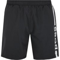 BOSS Bodywear Dolphin Stripe Logo Black Swim Shorts