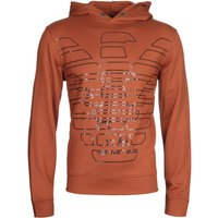 Emporio Armani Oversized Stencilled Eagle Burnt Orange Hoodie